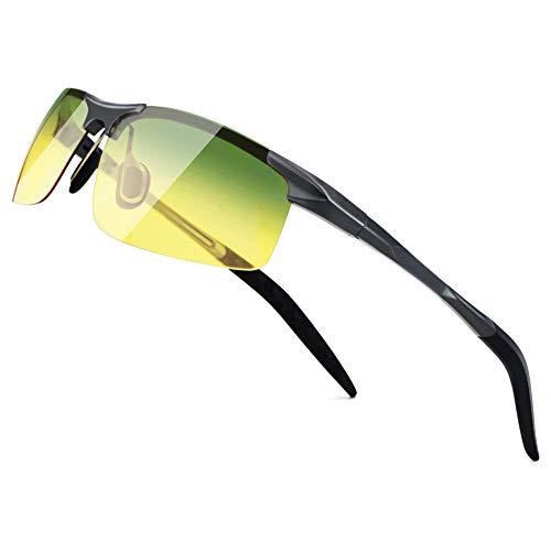SUNGAIT HD Night Vision Polarized Sunglasses Anti Glare for Night Driving(Gunmetal Frame/Day&Night) 8177QKRY