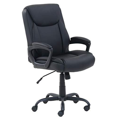 AmazonBasics Classic Puresoft PU-Padded Mid-Back Office Computer Desk Chair with Armrest - Black