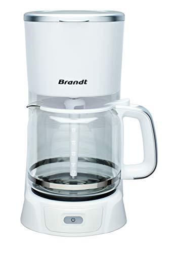 Brandt CAF1318S – Cafetière Filtre Électrique – Capacité 18 Tasses – Réservoir 1,8L – Verseuse en Verre — Fonction Maintien au Chaud 40 Minutes – Blanche