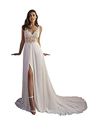 Features: Lace Appliques Sheer V Neck Wedding Dresses for Women, Sleeveless Chiffon A-Line Beach Boho Bridal Gowns with Sexy Side Slit, Open Back Floor Length Bride Skirt with Sweep Train, Zipper Back, Built in Bra. Occasion: The lace high slit ivory...