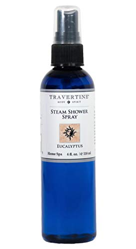 Travertine Spa Steam Shower Spray | Eucalyptus Shower Spray | Eucalyptus Oil Mist for Shower Aromatherapy | Sinus and Congestion Relief | Steam Room Spray | 100% Natural Eucalyptus Oil | 4 fl oz