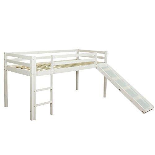 Homestyle4u 1434, Hochbett mit Rutsche Leiter Weiß, Kinderbett 90x200 Spielbett für Kinder 90 x 200 Massivholz Kiefer