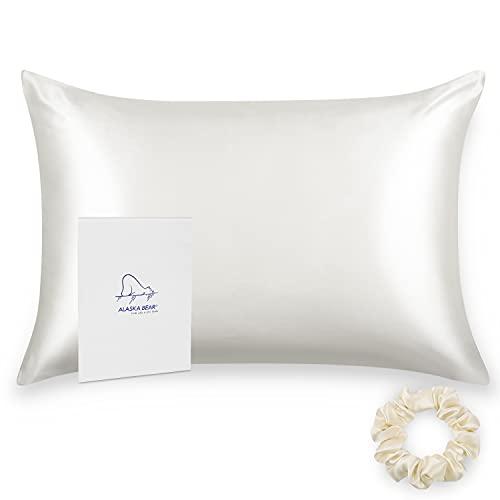 ALASKA BEAR Silk Pillowcase for Hair and Skin Scrunchie Set,...