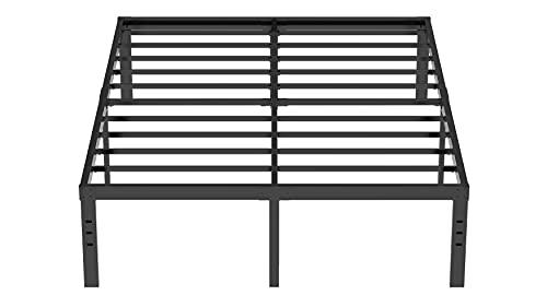 LIJQCI 18 Inch King Metal Bed Frame Heavy Duty Platform Maximum Storage Easy Assembly Steel Slat 3500lbs Support No Box Spring Needed