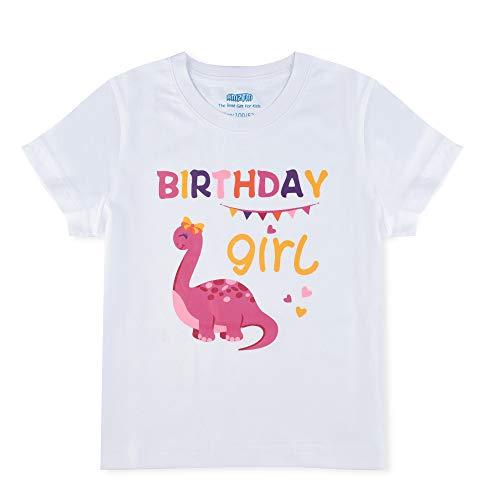 AMZTM Dinosauro Maglietta 2° Compleanno Bambino T-Shirt Ragazza Manica Corta Regalo 100% Cotone Stampa 2 Anni Compleanno Articoli Tshirt Scollo Tondo Top
