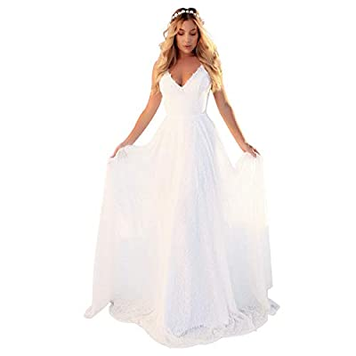 Fabric: High quality white lace dress, soft, light weight and skin-friendly, zipper closure. Style: White floor length dress with delicate lace design, invisible zipper, flowy spaghetti straps, criss cross, bandage sleeveless elegant formal gowns. Oc...