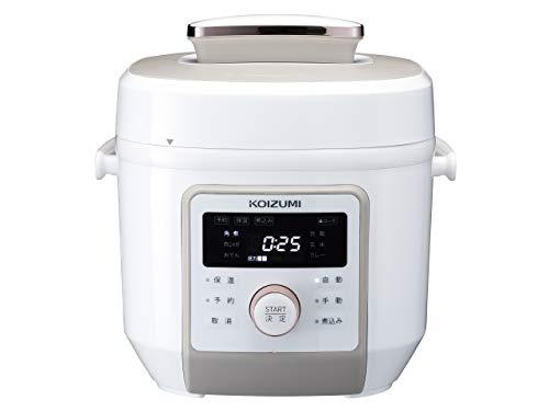 コイズミ マイコン電気圧力鍋 2.0L 6種類自動メニュー ワンタッチ 55品搭載レシピブック付き ホワイト KSC-...
