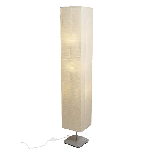 Asian Floor Lamp for Living Room Decor Rice Paper Lamp Shade with 3 LED Bulbs, Beige
