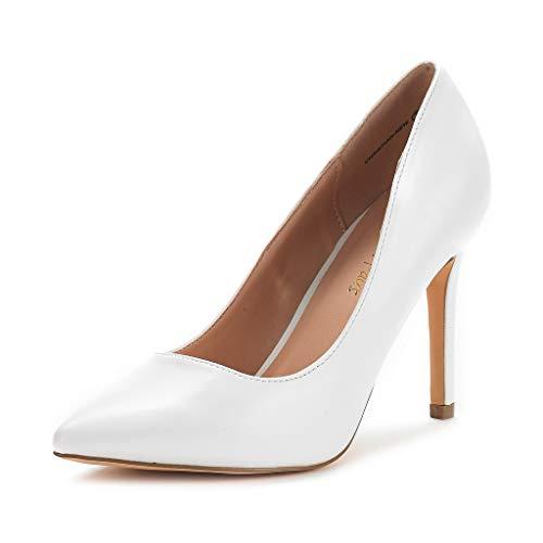 DREAM PAIRS Zapatos de Tacón Alto Pump para Mujer Blanco PU 39.5 EU/8.5 US