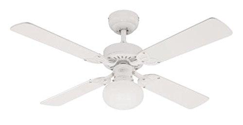Westinghouse Ventilatore a Soffitto Vegas E27, 60 W, Finitura, Pale in Bianco/Pino Chiaro