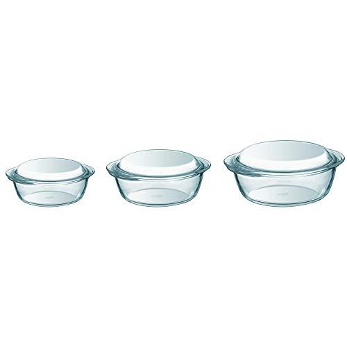 Pyrex - Set di 3 casseruole in vetro borosilicato, 1,4L/2,1L/3L