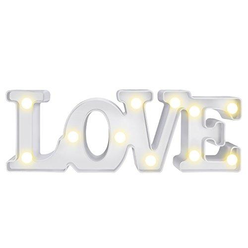 LOVE Lámpara de Mesa,WolinTek Love con Luces LED Lámpara de Tabla Lámpara de Noche Lámparas decorativas para Navidad de fiesta de Sala de Hogar Decoración de Pared - LOVE