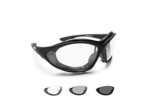 Bertoni Gafas de Moto Lentes Fotocromaticas Anti-Vaho - Patillas sustituibles con banda elastica - F333A Italy Negro Opaco - Gafas Motoristas Envolventes Anti-viento