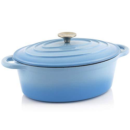 BBQ-Toro Gusseisen Cocotte | 4,3 Liter | blau, oval | Emaillierter Gusseisen Bräter mit Deckel | Gusstopf, induktionsgeeignet