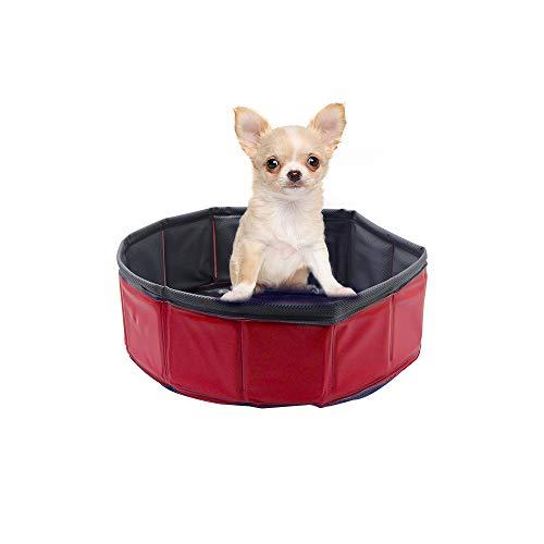 Petilleur Hundepool Falten Hunde Swimmingpool für Große, Mittlere und Kleine Hunde, Geflügel (30 * 10cm, Rot + Schwarz)
