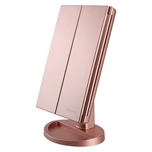 deweisn Specchio Trucco con 21 LEDs, Specchio di Vanity Trifold Ruota di 180 Ingrandimento 1x / 2X /...
