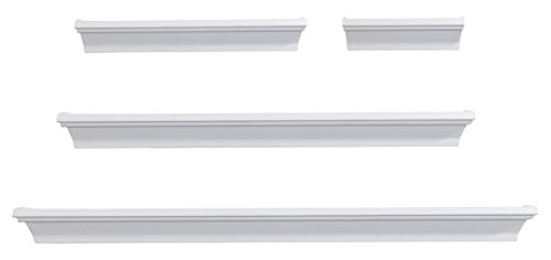 Melannco 5091215 Floating Wall Mount Molding Ledge Shelves, Set of 4, White