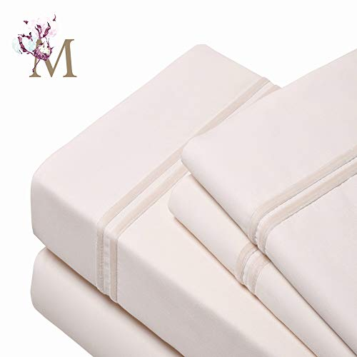 Proudly Made in USA,(4 Pieces Bed Sheet Set),100% Egyptian Cotton-Giza86- Sateen Weave,Fits Mattresses Up to 18', (Cal-King-Ivory), Designed with 2 Lines of Royal Ivory Velvet