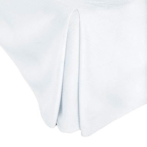 MALOUF WO14MDTTBE Matelasse Solid White 14-Inch Bed Skirt-Twin Size