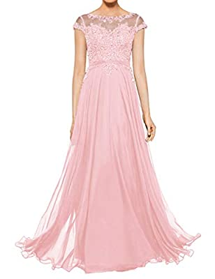 Dress detail: Chiffon material, Cap Sleeves, Scoop Neck Neckline design, A-Line style dress, Floor Length Evening Party Gowns, Button Closure Wash care: Hand Wash. Cold Hang Dry. Occasion: Perfect for Wedding Party Gown, Bridesmaid dress,Mother of th...