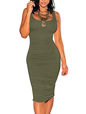 Stretch fabric,Size:S=USA 4-6,M=8-10,L=12-14,XL=14-16,XXL=16-18 Does not include a necklace,it will be better with heels and a necklace.show every curve Dress fit runs slim but maintain the comfortable fit for wearer.Ruched both sides, tank top desig...