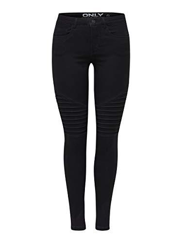 ONLY Damen Onlroyal Reg Sk Biker Pim600 Noos Jeans, Black, M 30L EU