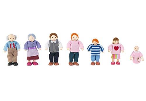 KidKraft 65202 Set Famiglia di 7 12cm in legno, compatibile con qualsiasi casa delle bambole, Multicolore