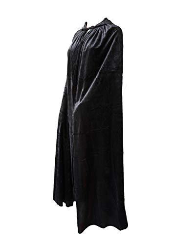 Capa con Capucha Terciopelo Negro Largo Medieval Disfraces de Bruja Vampiro Princesa Fiesta de Carnaval Halloween Unisex (Negro, 90cm)