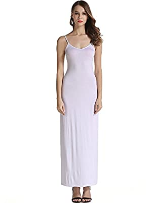 Basic full slip camisole dress with Adjustable Spaghetti Strap Wear it as a long slip under dress,or as a layering piece,Perfect for party,wedding,club,night out Made of slinnky material,Very soft and comfortable like a night gown. Clings to your bod...
