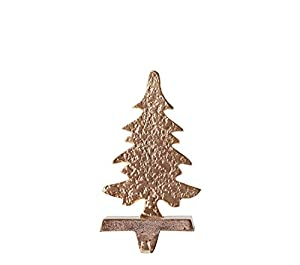 "Beautiful gold Christmas tree figurine decorates the holder Gold Christmas tree will complement the holiday décor Hang stockings without having to put holes in the mantel The perfect accent for your holiday stocking 5""L x 4""W x 10""H"