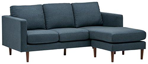 Amazon Brand – Rivet Revolve Modern Upholstered Sofa with Reversible Sectional Chaise, 80'W, Denim Blue
