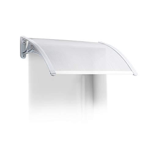 Relaxdays Marquesina toldo Techo para Puertas protección, plástico, Aluminio, 80 x 60 cm, tejado, Transparente, 60 x 80 x 20 cm