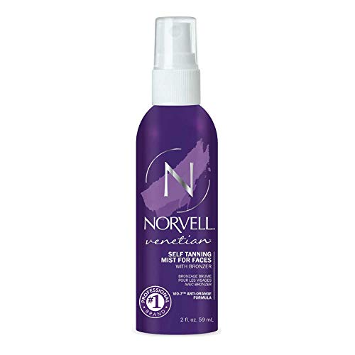 Norvell Venetian Sunless Self Tanning Mist for Face - Non Comedogenic Facial Bronzing Tanner Spray for Natural Sun-Kissed Glow, 2 fl.oz. (NEW PACKAGING)