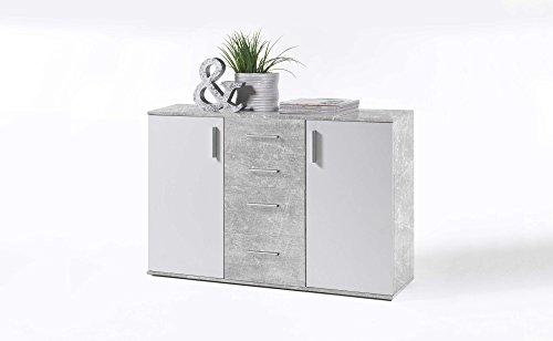 AVANTI TRENDSTORE - BEA - Com in Legno Laminato e Bianco, Disponibile in 2 Diversi Colori e Dimensioni (120x82x35 cm, Grigio-Bianco)