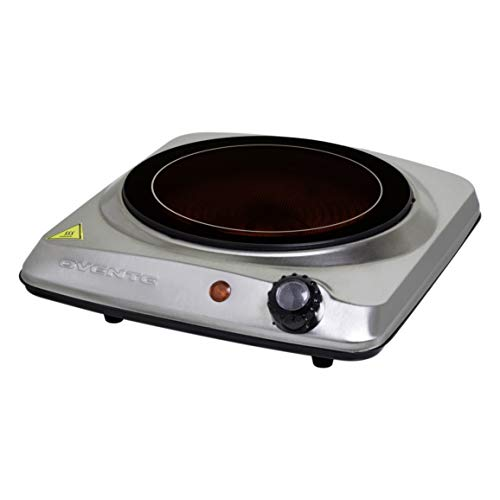 Ovente 7 Inch Single Hot Plate Electric Glass Infrared Stove, 1000 Watt Portable Cooktop Countertop Kitchen Burner with Adjustable Temperature Control & Stainless Steel Base Easy Clean, Silver BGI101S