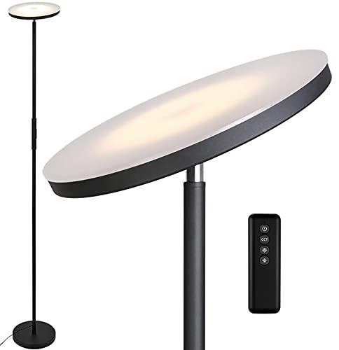 Anten Deckenfluter Stjarna | schwarz | 30W dimmbare Led Stehlampe mit Fernbedienung | 3 Lichtfarbe | Helligkeit stufenlos einstellbar | helle Stehlampen für Wohnzimmer Büro.