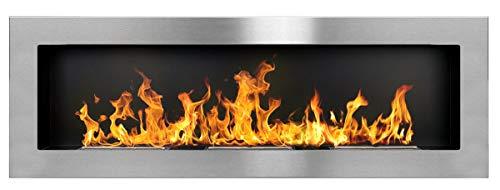 Bio Ethanol Fire BioFire Fireplace Modern 1200 x 400 stainless steel