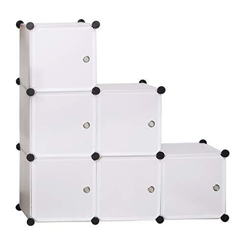 WOLTU SR0056ws DIY Armadio a Cubo Armadietto Mobiletto Modulare Guardaroba Pieghevoli Scarpiera Organizzatore Bianco