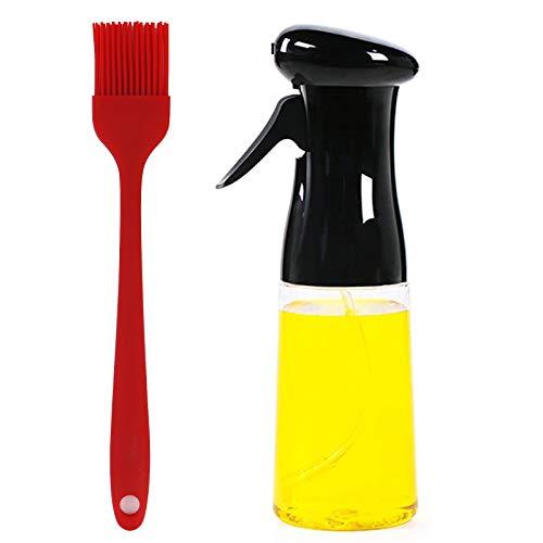 MoYouno Botella de Spray de Aceite para cocinar a la Parrilla, dispensador de rociador de Aceite de Oliva de 210 ml, rociador de vinagre para freír Ensalada de Barbacoa, Negro