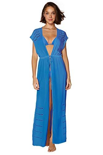 Designer: Vix Swimwear Collection: Periwinkle Name: Pamela Cut Out Tie Front Caftan