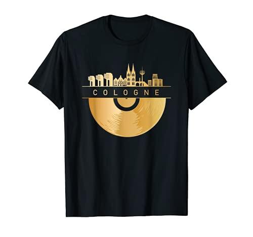 Cologne Skyline - Disco musicale di Colonia DJ vintage Colonia Maglietta