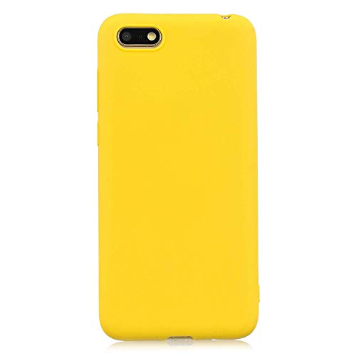 cuzz Custodia Huawei Y5 2018/Y5 Prime 2018/Honor 7S+{Film di Vetro temperato}Silicone TPU Cover Morbida Protettiva Custodia Ultra Sottile Leggero Cover-Giallo
