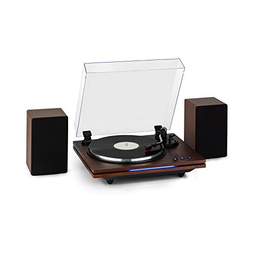 AUNA TT-Play Plus - Platine Vinyle, Enceintes stéréo: 20 W Max, Bluetooth, LED d'état, Vitesses: 33/45/78 TR/Min, entraînement par Courroie - Bois