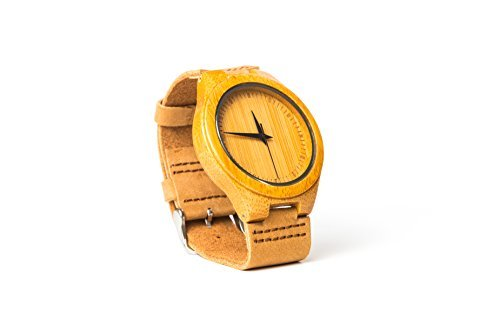 Men's Wooden Bamboo Watch - Japanese Miyota 2035 Quartz Movement - Real Leather Strap - Natural Wood Watch - Unique Gift Idea