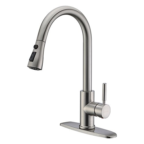 WEWE Single Handle High Arc Brushed Nickel Pull Out Kitchen Faucet,Single Level Stainless Steel Kitchen Sink...