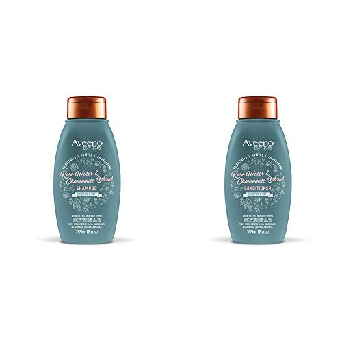 Aveeno Scalp Soothing Rose Water & Chamomile Blen Shampoo & Conditioner for Sensitive and Soft, Sulfate Free, No Dyes or Parabens, 1 Set