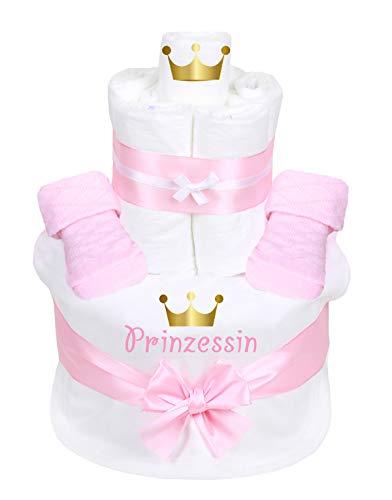 Trend Mama Windeltorte rosa MädchenBabysocken + hochwertig bedrucktes Lätzchen mit Prinzessin goldene Krone