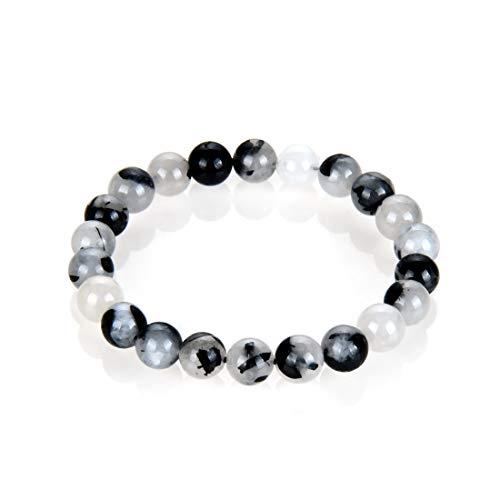 Natural Black Rutilated Quartz Gemstone Beaded Bracelet 7...