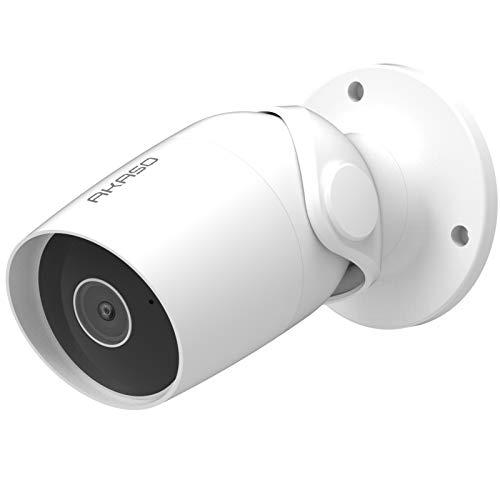 AKASO IP 1080P Cámara Wi-Fi para exteriores funciona con Alexa, Google Home, IP65 a prueba de agua, audio bidireccional, acceso remoto, detección de movimiento, tarjeta / almacenamiento en la nube