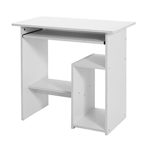 VASAGLE Scrivania per Computer, Tavolo per Computer, con Portatastiera Scorrevole, Montaggio Facile, per Casa e Ufficio, Bianco LCD852W